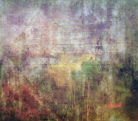 Abstract grunge texture of watercolor background with blurred paint stains of a green, yellow, burgundy, white and transverse stripes.