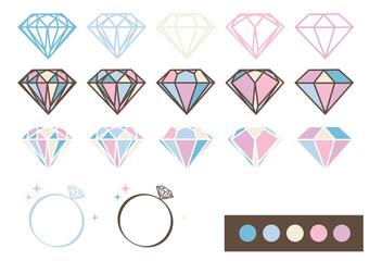 宝石 デザインパーツ素材(パステルカラー)