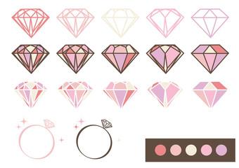宝石 デザインパーツ素材(ピンク)