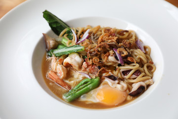 Fried noodle with soy sauce , hokkien mee Asian food