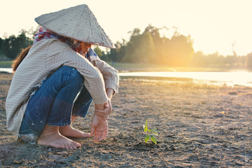 Asian woman and little green plant on cracked dry ground, concept drought  crisis environment save the world,selective and soft focus