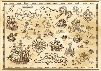 Design set with nautical decorative elements, fantasy creatures, pirate treasure map details. Pirate adventures, treasure hunt and old transportation concept. Hand drawn vector illustration