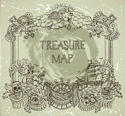 Hand drawn decorative frame with pirate treasure concept, old ships, treasure islands and nautical elements. Pirate adventures, treasure hunt and old transportation concept