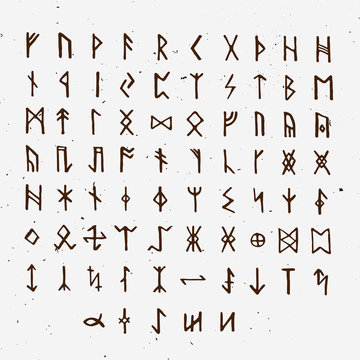 Set of Old Norse Scandinavian runes. Runic alphabet, futhark. Ancient occult symbols, vikings letters on white, rune font. Vector illustration with light texture. Ancient norse letter.