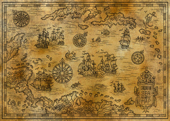 Old map of the Caribbean Sea with decorative and fantasy elements, pirate sailing ships, compass. Pirate adventures, treasure hunt and old transportation concept. Hand drawn engraved illustration