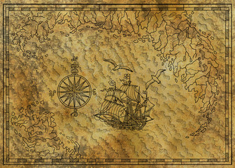 Pirate nautical map with old sailing ship, compass, gulls and treasure island on texture. Pirate adventures, treasure hunt and old transportation concept. Hand drawn engraved illustration