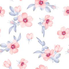 Dog-rose blooms. wild rose vector seamless pattern
