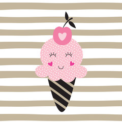 Cute vector  illustration with funny ice cream