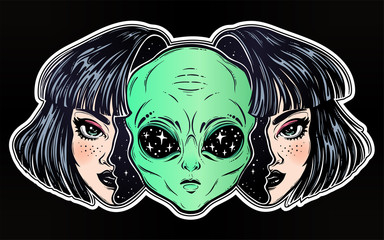 Alien from outer space face in disguise as a girl.