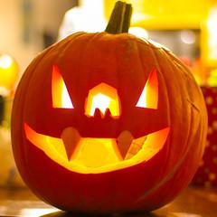 lighted fanged pumpkin
