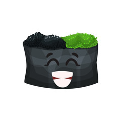 Cute happy roll character with caviar, sushi with funny face cartoon vector Illustration