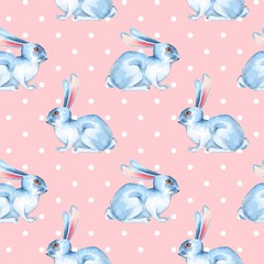 Seamless pattern with white rabbits 4