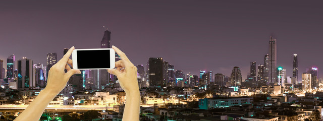 Mock up for advertising with Bangkok building at night time