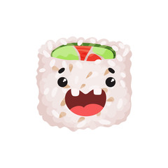 Cute roll character, sushi with funny face cartoon vector Illustration