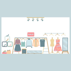 Women Clothing and Shoe Store Vector