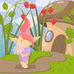 Cute troll girl character with camomile flower standing on the background of fairytale mushroom house vector illustration, cartoon style