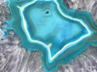 Blue Geode Slice Gemstone Background