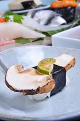 Close-up of matsutake nigiri sushi