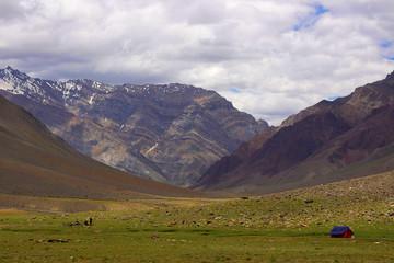 A tent, near the mountains. Himachal Pradesh