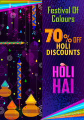 Colorful Traditional Holi Shopping Discount Offer Advertisement  background for festival of colors of India