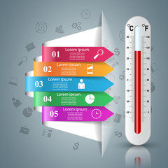 Business illustration of a thermometer. Health and temperature.