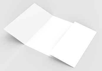 Square gate fold brochure mock up isolated on soft gray background. 3D illustrating.