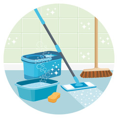 House cleaning service round vector icon.