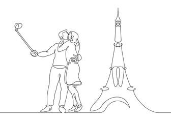 tourists selfie eiffel tower