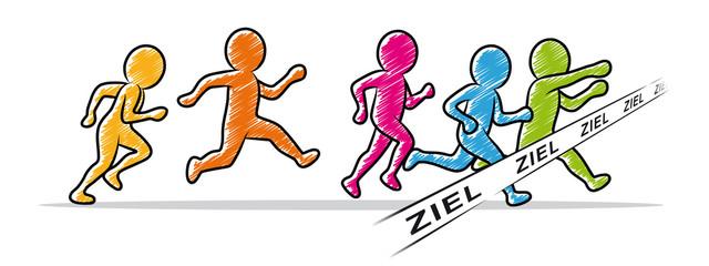 Farbige Strichmännchen: Läufer beim Zieleinlauf