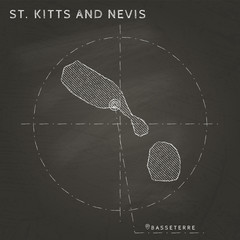 St. Kitts and Nevis chalk map with capital marked hand drawn on textured school blackboard. Chalk St. Kitts and Nevis outline with Basseterre marked. Vector illustration.