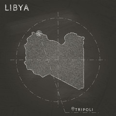 Libya chalk map with capital marked hand drawn on textured school blackboard. Chalk Libya outline with Tripoli marked. Vector illustration.