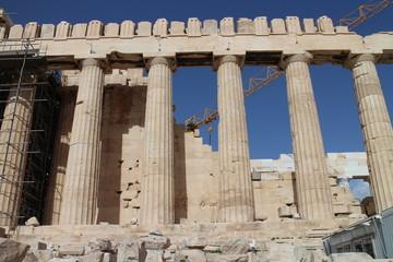 The Parthenon with scaffold, Acropolis, Athens, Greece