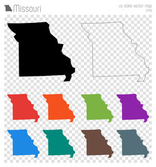 Missouri high detailed map. Us state silhouette icon. Isolated Missouri black map outline. Vector illustration.