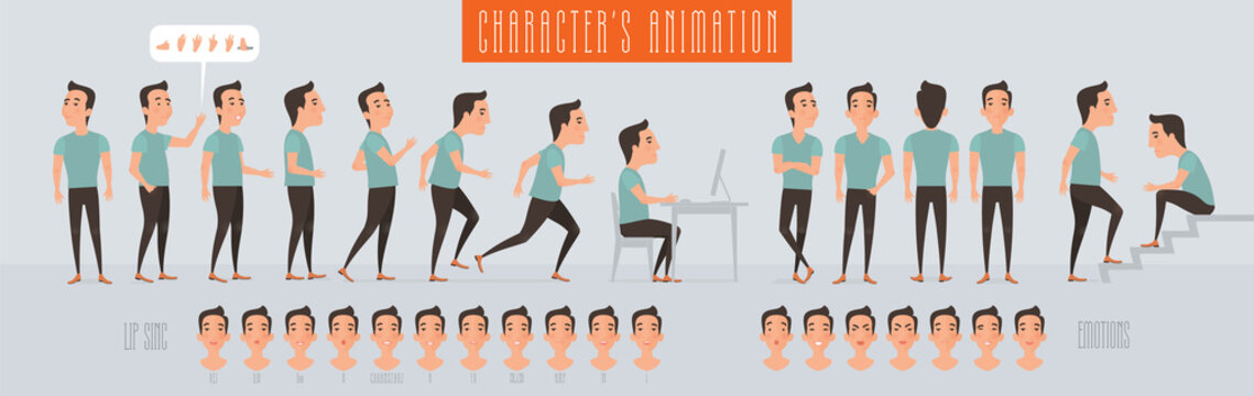 Set of vector elements for man animation