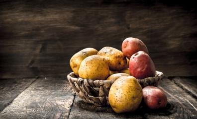Fresh potatoes in a basket.