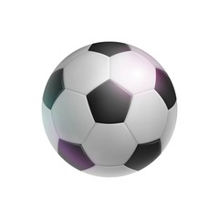 Classic soccer ball, realistic, isolated. Image of sports equipment for football players, fans and amateurs. Vector illustration of modern detailed clipart