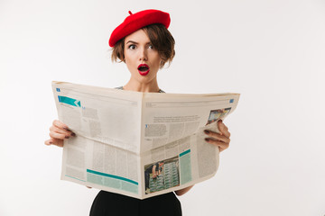 Portrait of a shocked woman wearing red beret