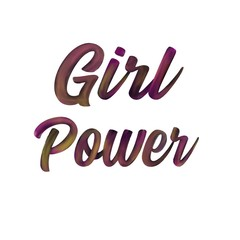 Girl power calligraphy isolated on white background