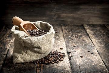 Grain coffee in a bag.