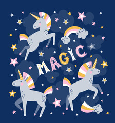 Unicorn magic vector greeting card. Magic background.