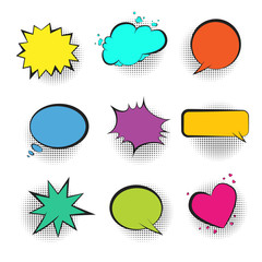 Big set of bright color retro comic speech bubbles with black halftone shadow in pop art style. Green, blue, red, yellow and pink balloons for comics book, advertisement text, web design, badge