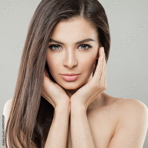Young Beautiful Woman Face Close Up Portrait With Healthy