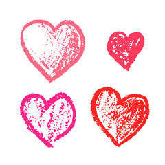 Set of cute hand drawn grunge pink hearts. Doodle scratched hearts for wedding invitation design, lovely Valentine's Day cards