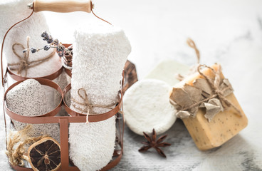 Spa composition with handmade soap
