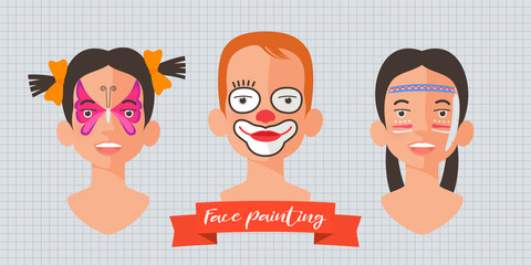 Children face painting set of vector illustrations