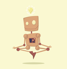 Funny cartoon meditating robot with idea vector. Character cartoon style. Robot with light bulb over his head