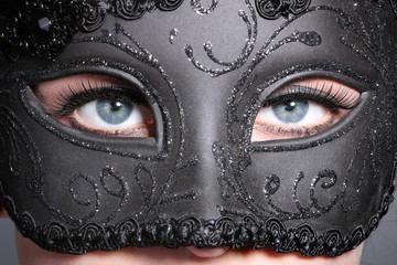 Maske mit Augenblick Nahaufnahme