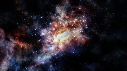 Glowing spiral galaxy. Elements of this Image furnished by NASA.