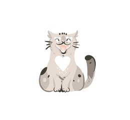 Hand drawn vector abstract graphic doodle cartoon simple illustration icon with cute funny domestic spring meowing cat isolated on white background