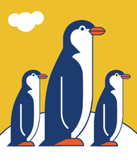 Penguin icon in flat style